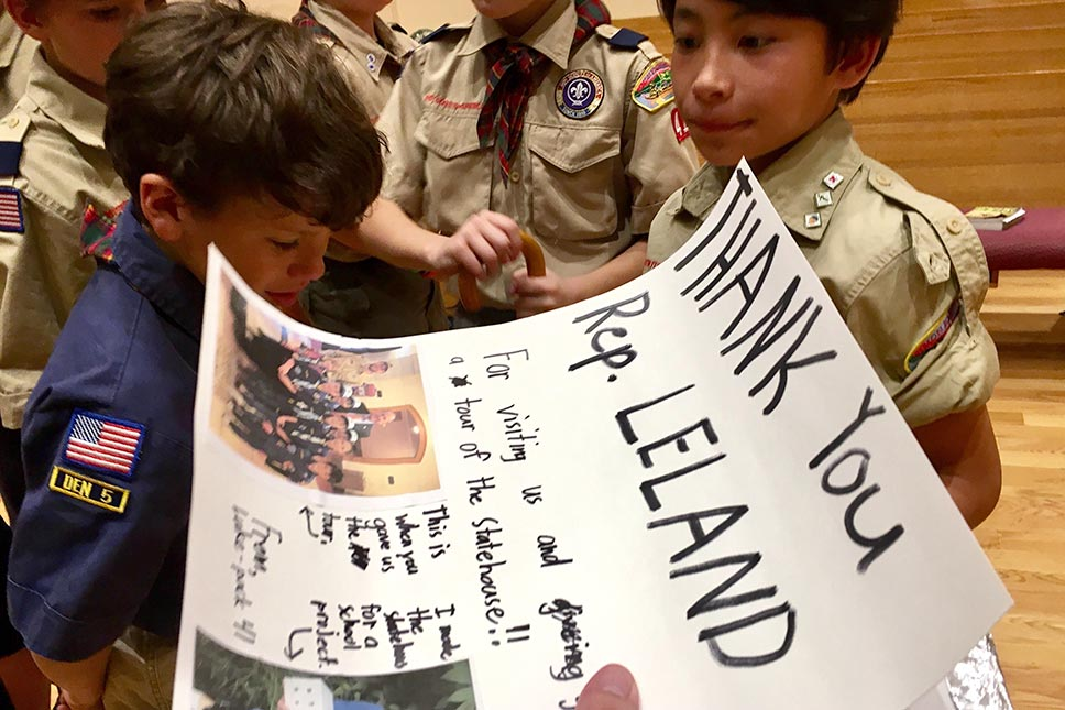 Local Boy Scouts Make Poster Thanking David Leland For An Ohio Statehouse Tour