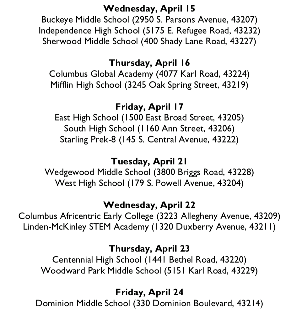 Food Bank Dates List